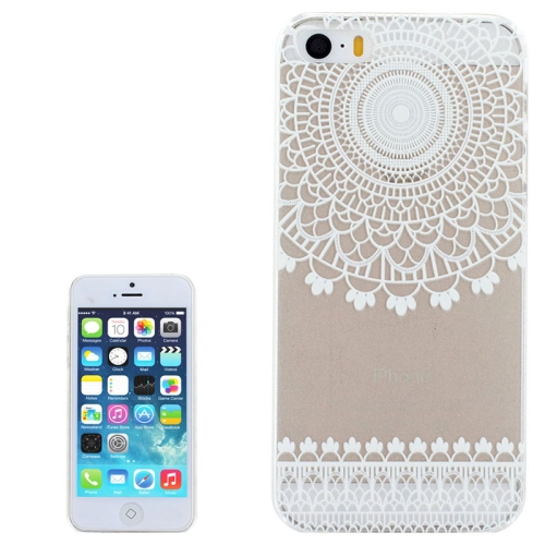 Ultra-Thin Carved Flower Pattern Transparent Frame PC Protective Case for iPhone 5 & 5S (Pattern 4)