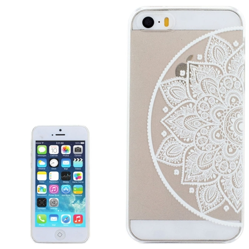 Ultra-Thin Carved Flower Pattern Transparent Frame PC Protective Case for iPhone 5 & 5S (Pattern 5)