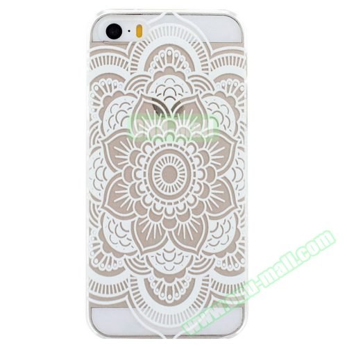 Ultra-Thin Carved Flower Pattern Transparent Frame PC Protective Case for iPhone 5 & 5S (Pattern 8)