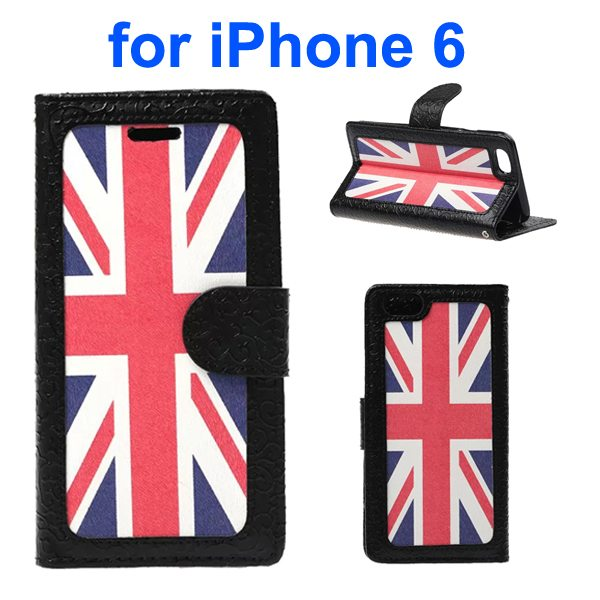 Embossed Style PU Leather Flip Cover for iPhone 6 4.7 Inch (UK Flag Pattern)