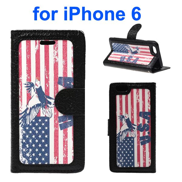 Embossed Style PU Leather Flip Cover for iPhone 6 4.7 Inch (USA Flag Pattern)