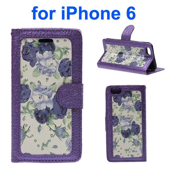 Embossed Style PU Leather Flip Cover for iPhone 6 4.7 Inch (Purple Rose Pattern)