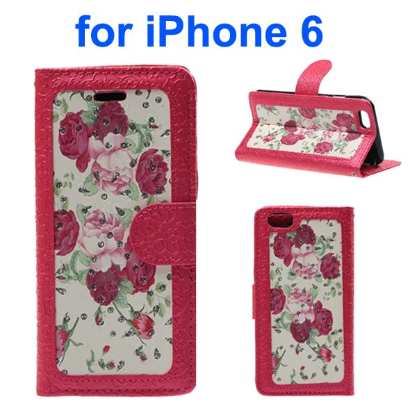 Embossed Style PU Leather Flip Cover for iPhone 6 4.7 Inch (Rose Pattern)