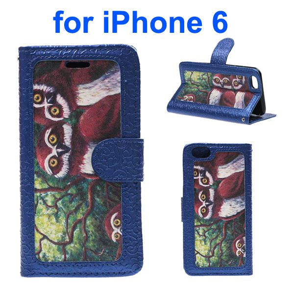 Embossed Style PU Leather Flip Cover for iPhone 6 4.7 Inch (Owl Pattern)