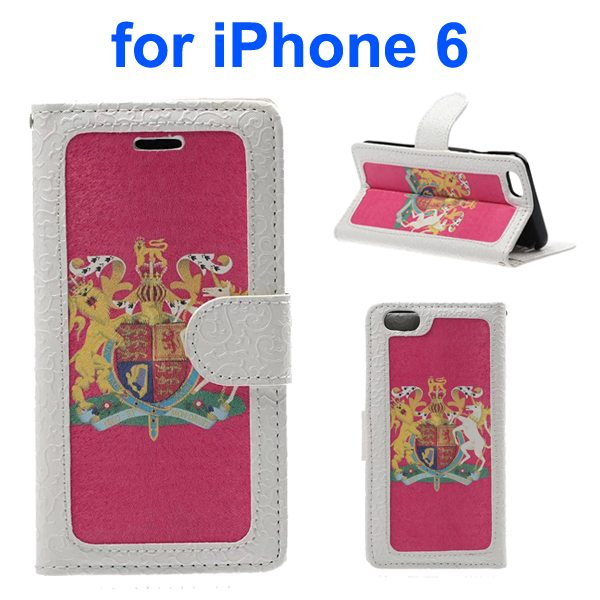 Embossed Style PU Leather Flip Cover for iPhone 6 4.7 Inch (The British National Emblem Pattern)