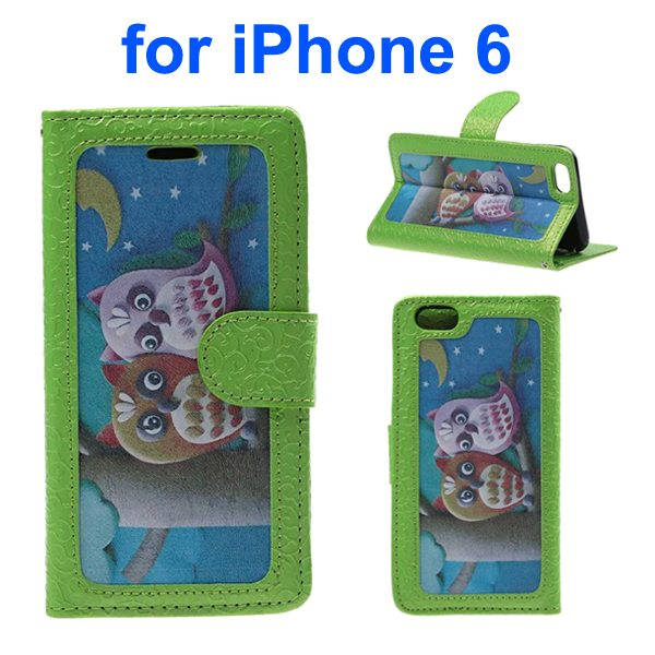 Embossed Style PU Leather Flip Cover for iPhone 6 4.7 Inch (Baby Owl Pattern)