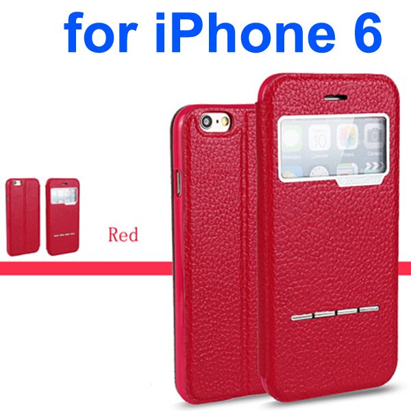 Litchi Texture 100% Genuine Leather Flip Cover for iPhone 6 with Sliding-Answer Function (Rose)