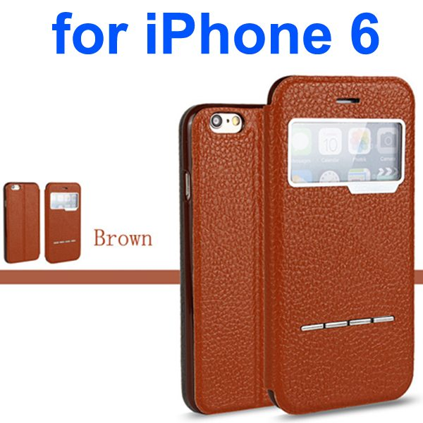Litchi Texture 100% Genuine Leather Flip Cover for iPhone 6 with Sliding-Answer Function (Brown)