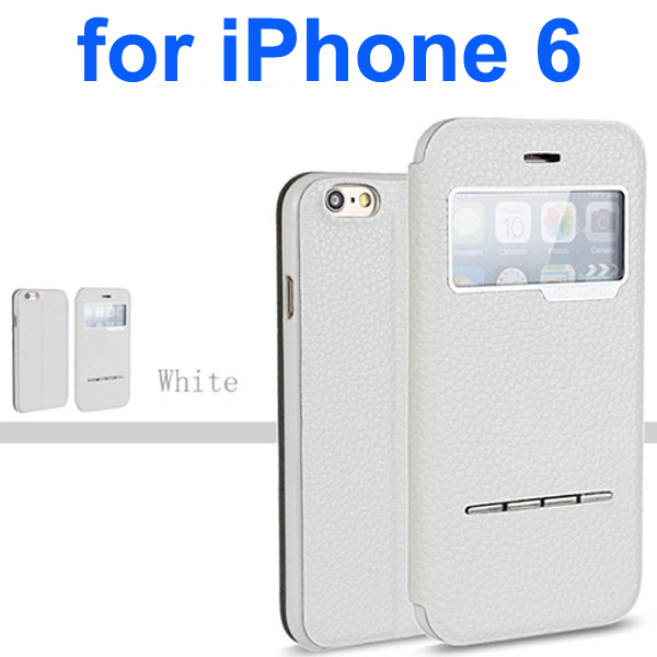 Litchi Texture 100% Genuine Leather Flip Cover for iPhone 6 with Sliding-Answer Function (White)