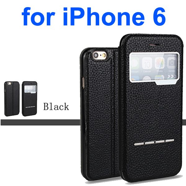 Litchi Texture 100% Genuine Leather Flip Cover for iPhone 6 with Sliding-Answer Function (Black)