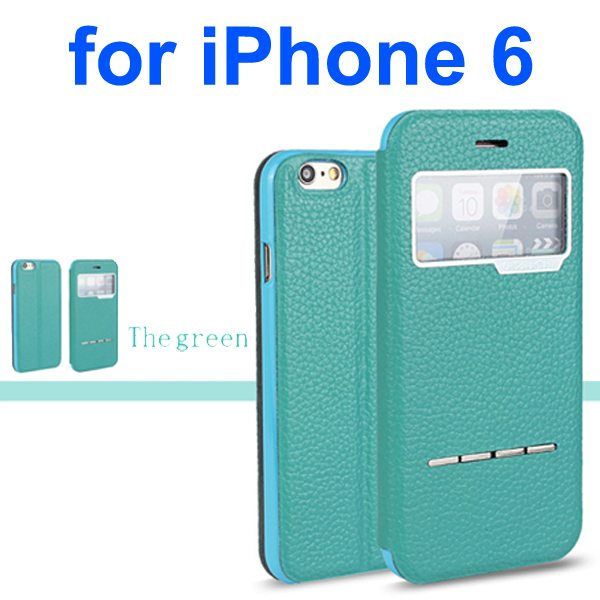 Litchi Texture 100% Genuine Leather Flip Cover for iPhone 6 with Sliding-Answer Function (Green)