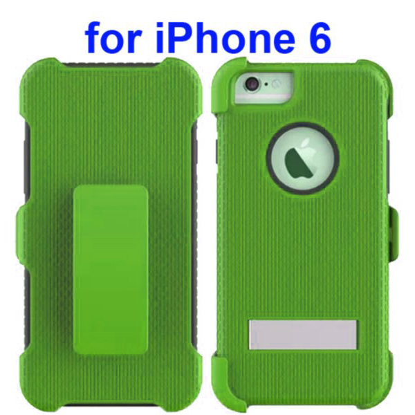 3 in 1 Hybrid Combination Rugged Kickstand Protective Case for iPhone 6 (Dark Green)
