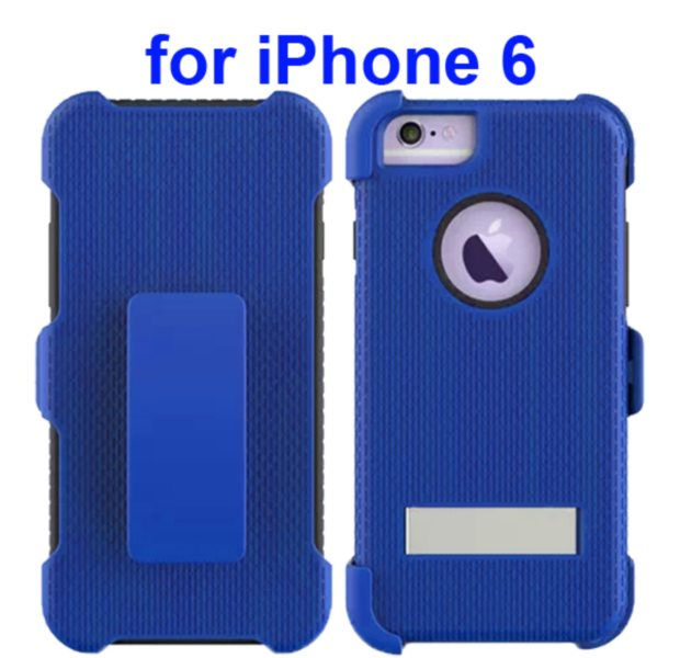 3 in 1 Hybrid Combination Rugged Kickstand Protective Case for iPhone 6 (Blue)