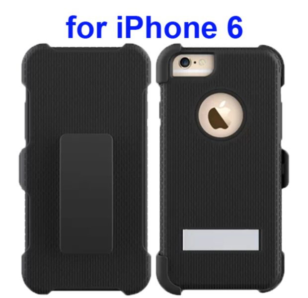 3 in 1 Hybrid Combination Rugged Kickstand Protective Case for iPhone 6 (Black)
