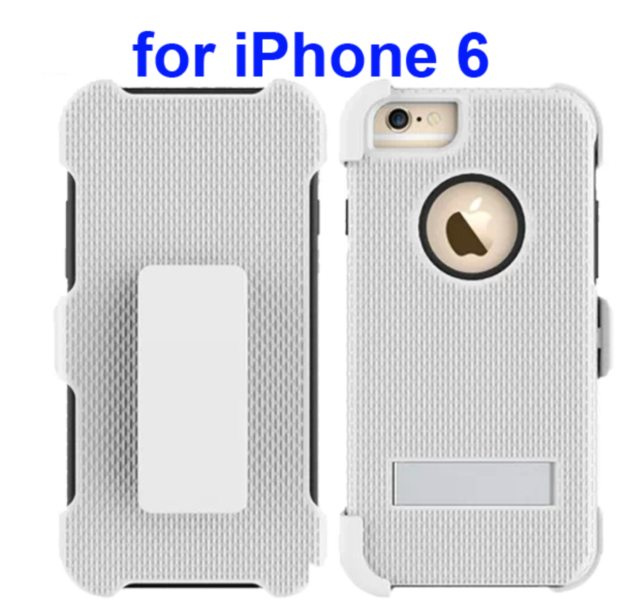 3 in 1 Hybrid Combination Rugged Kickstand Protective Case for iPhone 6 (Grey)
