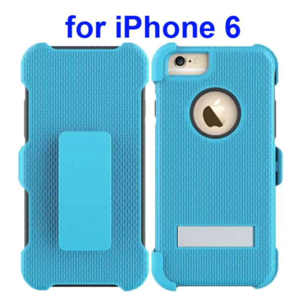 3 in 1 Hybrid Combination Rugged Kickstand Protective Case for iPhone 6 (Light Blue)