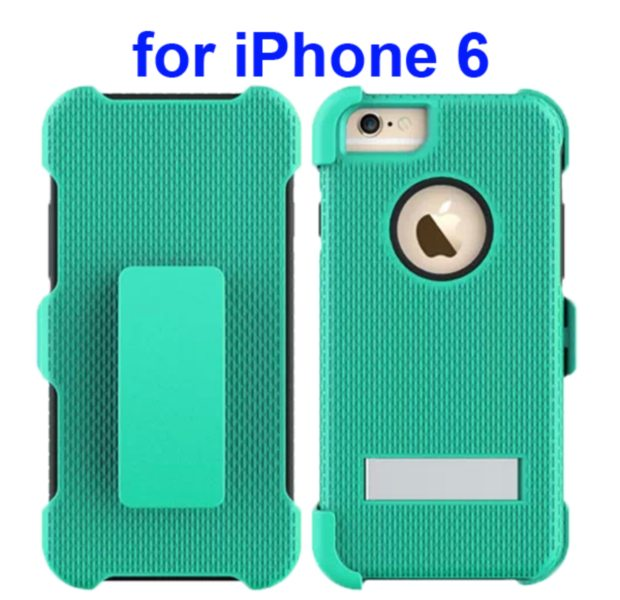 3 in 1 Hybrid Combination Rugged Kickstand Protective Case for iPhone 6 (Green)