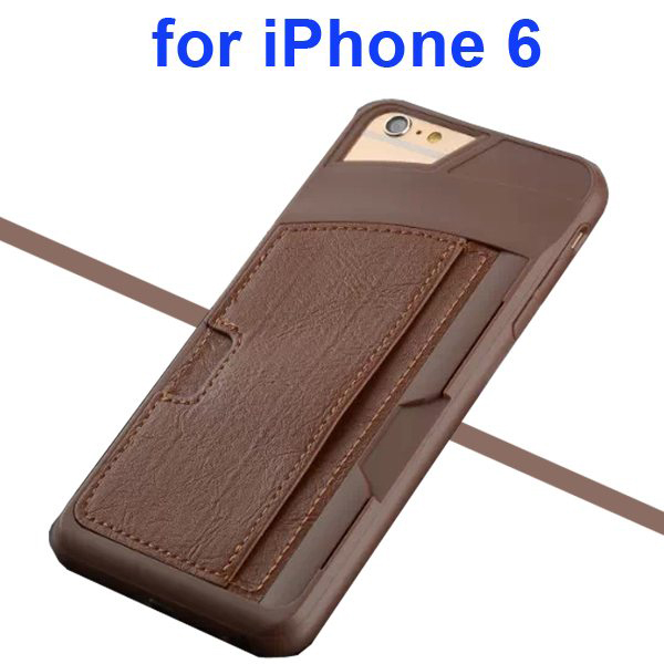 Leather Coated TPU Case for iPhone 6 4.7 Inch with Card Slots (Brown)