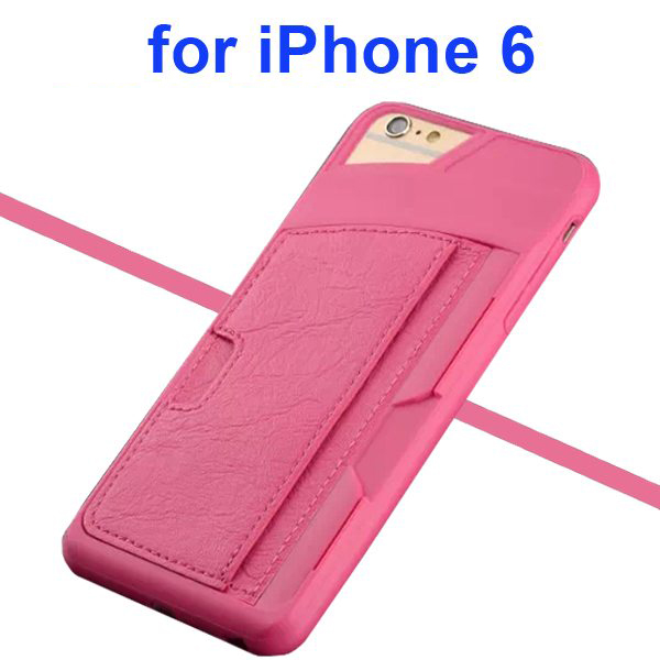 Leather Coated TPU Case for iPhone 6 4.7 Inch with Card Slots (Rose)