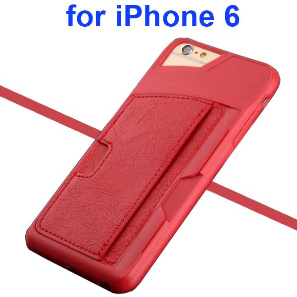 Leather Coated TPU Case for iPhone 6 4.7 Inch with Card Slots (Red)