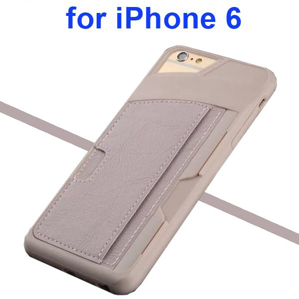 Leather Coated TPU Case for iPhone 6 4.7 Inch with Card Slots (Grey)