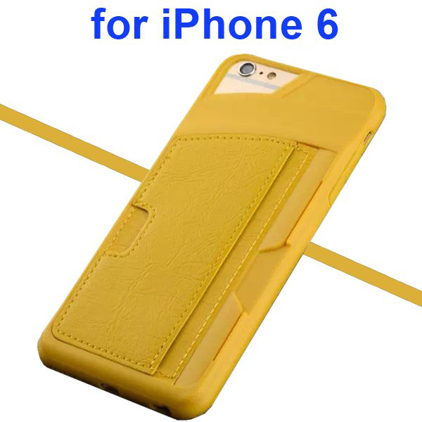 Leather Coated TPU Case for iPhone 6 4.7 Inch with Card Slots (Yellow)