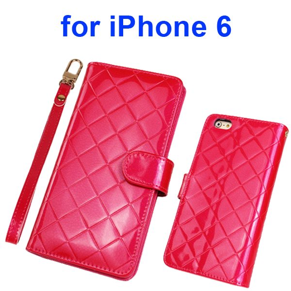 Premium Grid Pattern Flip Leather Wallet Case for iPhone 6 4.7 Inch with Lanyard (Rose)