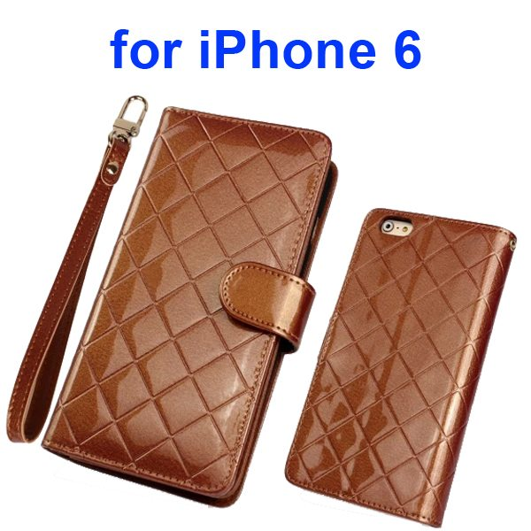 Premium Grid Pattern Flip Leather Wallet Case for iPhone 6 4.7 Inch with Lanyard (Brown)