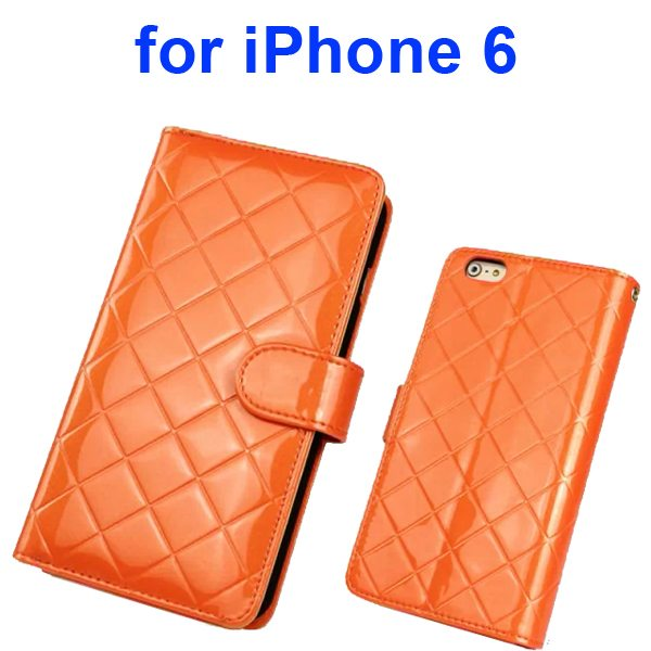 Premium Grid Pattern Flip Leather Wallet Case for iPhone 6 4.7 Inch with Lanyard (Orange)