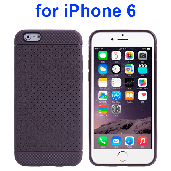 Litchi Texture Anti-Skid Protective TPU Case for iPhone 6 4.7 Inch (Coffee)