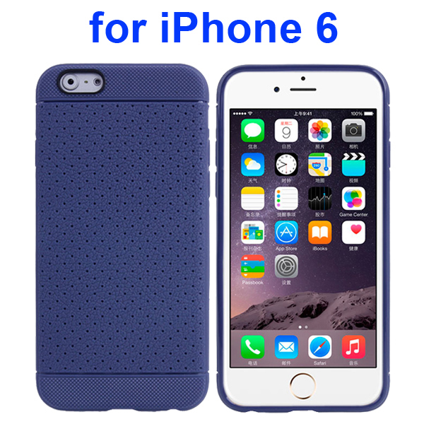 Litchi Texture Anti-Skid Protective TPU Case for iPhone 6 4.7 Inch (Dark Blue)