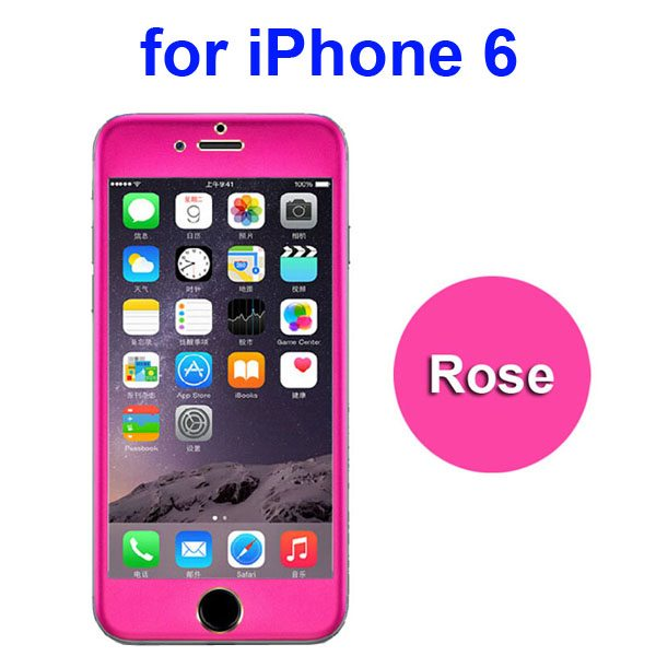 New Arrival Titanium Alloy Tempered Glass Screen Guard for iPhone 6 4.7 inch (Hot Pink)