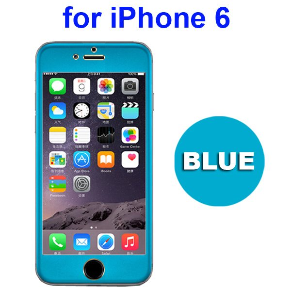 New Arrival Titanium Alloy Tempered Glass Screen Guard for iPhone 6 4.7 inch (Blue)