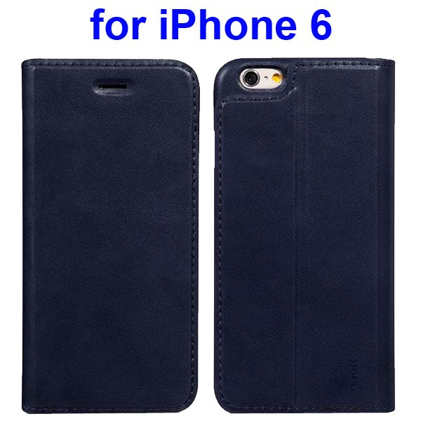 HOCO Luxury Series Suprior Quality Flip Case Leather Cover for iPhone 6 (Dark Blue)