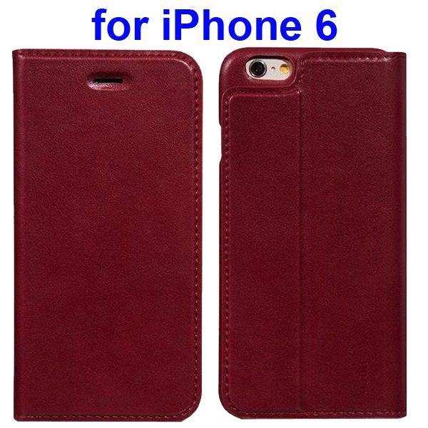 HOCO Luxury Series Suprior Quality Flip Case Leather Cover for iPhone 6 (Dark Red)