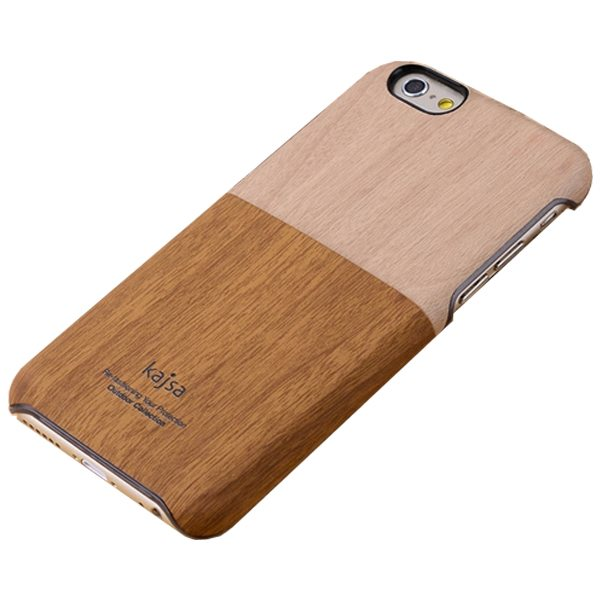 Kajsa Selected Top Cowboy Material Wood Texture Retro Wallet Cover for iPhone 6 4.7 Inch (Coffee)
