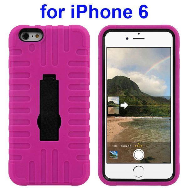 3 in 1 Pattern Vertical Stripe Robot Silicone and PC Rugged Protective Hybrid Case for iPhone 6 4.7 Inch (Rose)