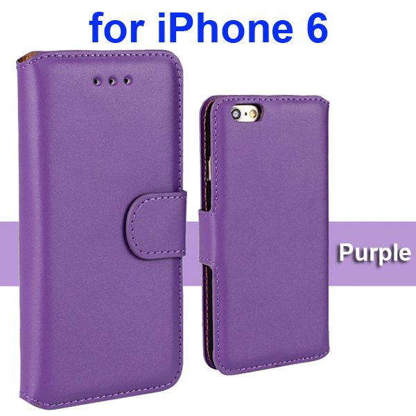 Flip Magnetic Genuine Wallet Case for iPhone 6 4.7 inch with Card Slots (Purple)