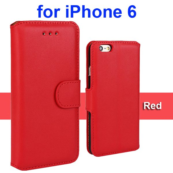 Flip Magnetic Genuine Wallet Case for iPhone 6 4.7 inch with Card Slots (Red)