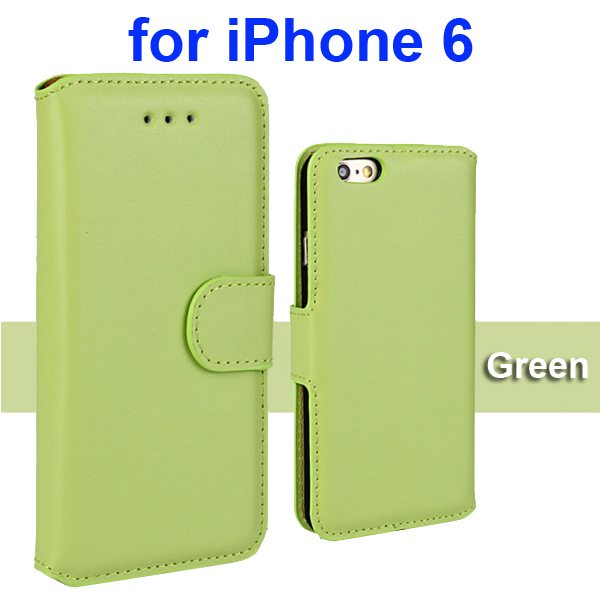 Flip Magnetic Genuine Wallet Case for iPhone 6 4.7 inch with Card Slots (Green)