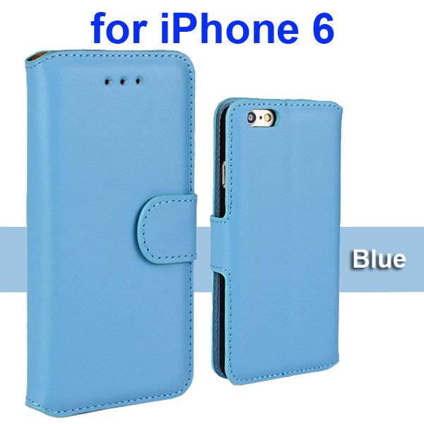 Flip Magnetic Genuine Wallet Case for iPhone 6 4.7 inch with Card Slots (Blue)