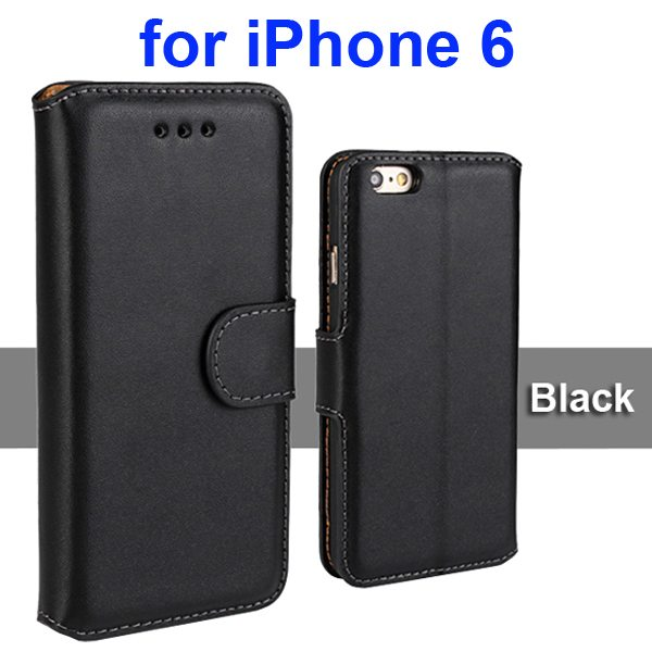 Flip Magnetic Genuine Wallet Case for iPhone 6 4.7 inch with Card Slots (Black)