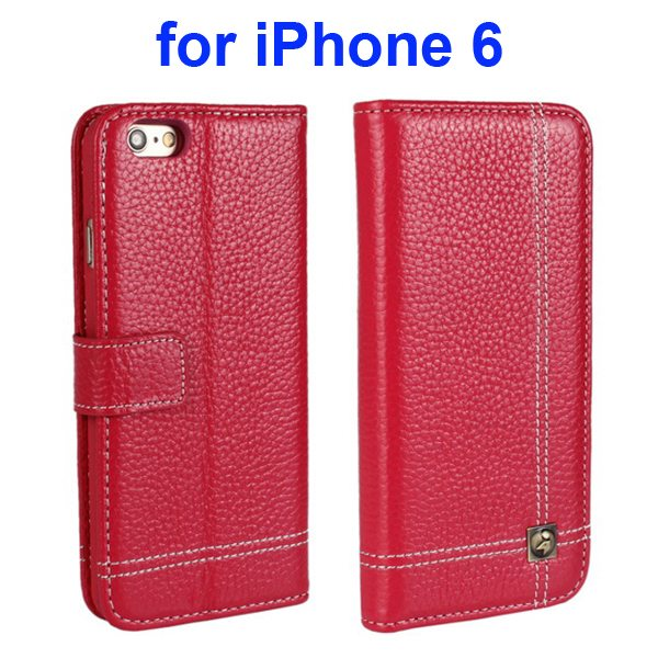 Litchi Texture Wallet Flip Genuine Leather Case for iPhone 6 with Card Slots (Red)