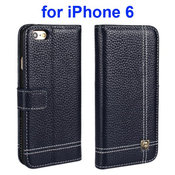 Litchi Texture Wallet Flip Genuine Leather Case for iPhone 6 with Card Slots (Dark Blue)