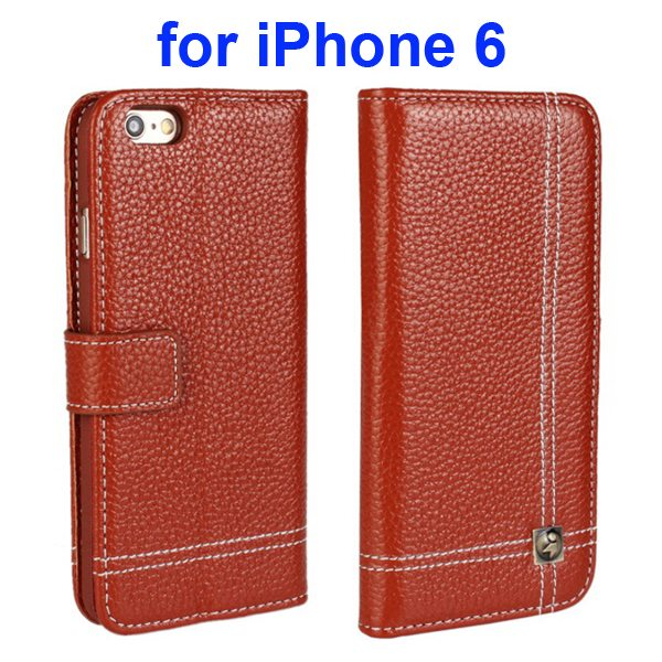Litchi Texture Wallet Flip Genuine Leather Case for iPhone 6 with Card Slots (Brown)