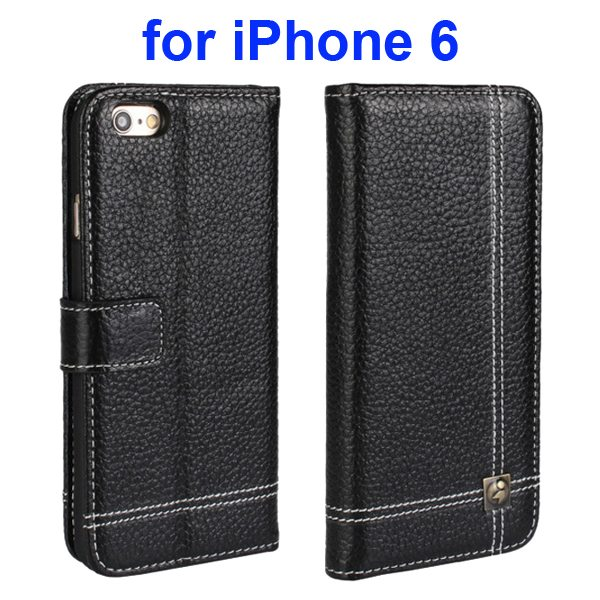 Litchi Texture Wallet Flip Genuine Leather Case for iPhone 6 with Card Slots (Black)