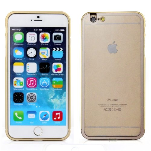 2 in 1 Pattern Aviation Hard Aluminum Bumper Frame Case for iPhone 6 Plus with Transparent Back Cover (Gold)
