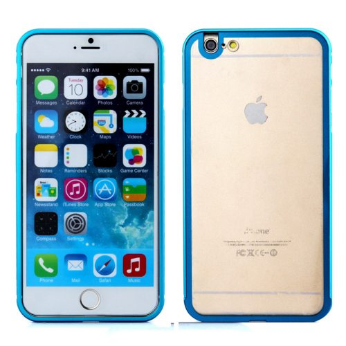 2 in 1 Pattern Aviation Hard Aluminum Bumper Frame Case for iPhone 6 Plus with Transparent Back Cover (Blue)