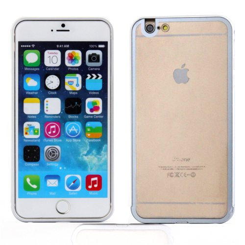 2 in 1 Pattern Aviation Hard Aluminum Bumper Frame Case for iPhone 6 Plus with Transparent Back Cover (White)