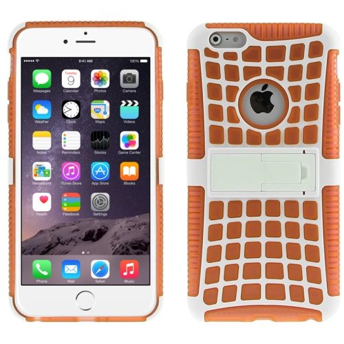 2 in 1 Spider Web Pattern Soft TPU and Hard Shockproof Cover for iPhone 6 with Stand (Orange)